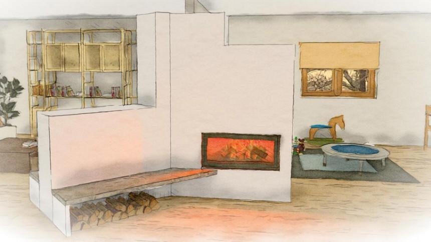 poêle de masse en angle à 45° avec banquettes, utilisant un foyer Ortner et KMS